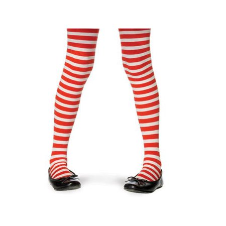 Red And White Striped Tights Child (Childs Striped Tights LA4710 -)