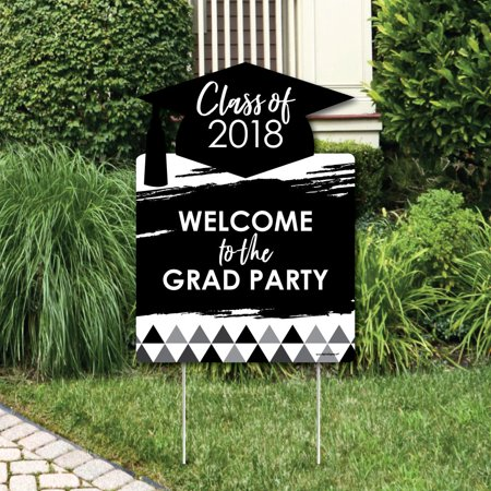 Black and White Grad - Best is Yet to Come - Party Decorations -  2018 Graduation Party Welcome Yard Sign