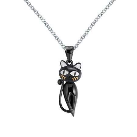 Ginger Lyne Collection Ginny Cat Kitty Kitten Pendant Black Over Sterling Silver Necklace for $<!---->