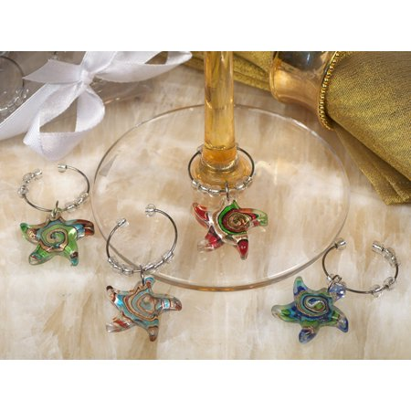 Wedding Theme Wine Charm (Murano art deco collection starfish design wine charms)