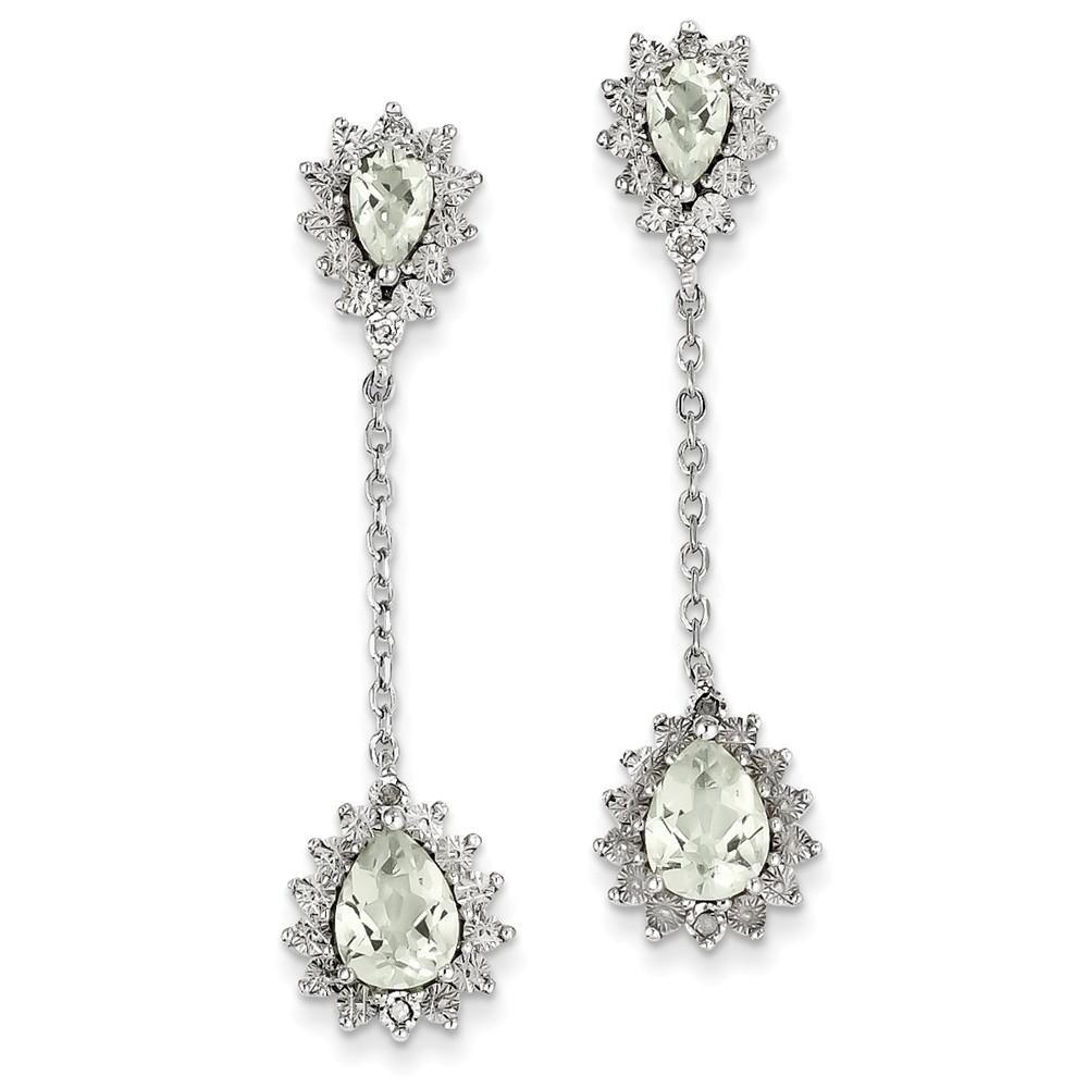 Sterling Silver Diamond & Green Quartz Earrings (1.7IN x 0.4IN )