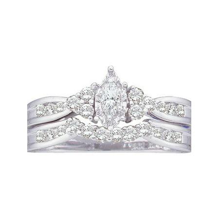 14kt White Gold Womens Marquise Diamond Bridal Wedding Engagement Ring Band Set 1/2 Cttw - image 1 de 1