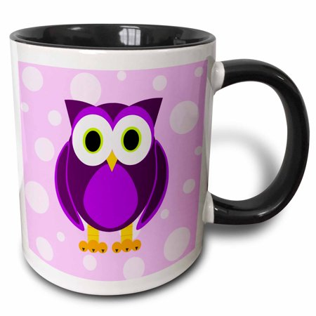 3dRose Cute Purple Owl on Light Purple Background - Two Tone Black Mug, 11-ounce - Mug Shot Background