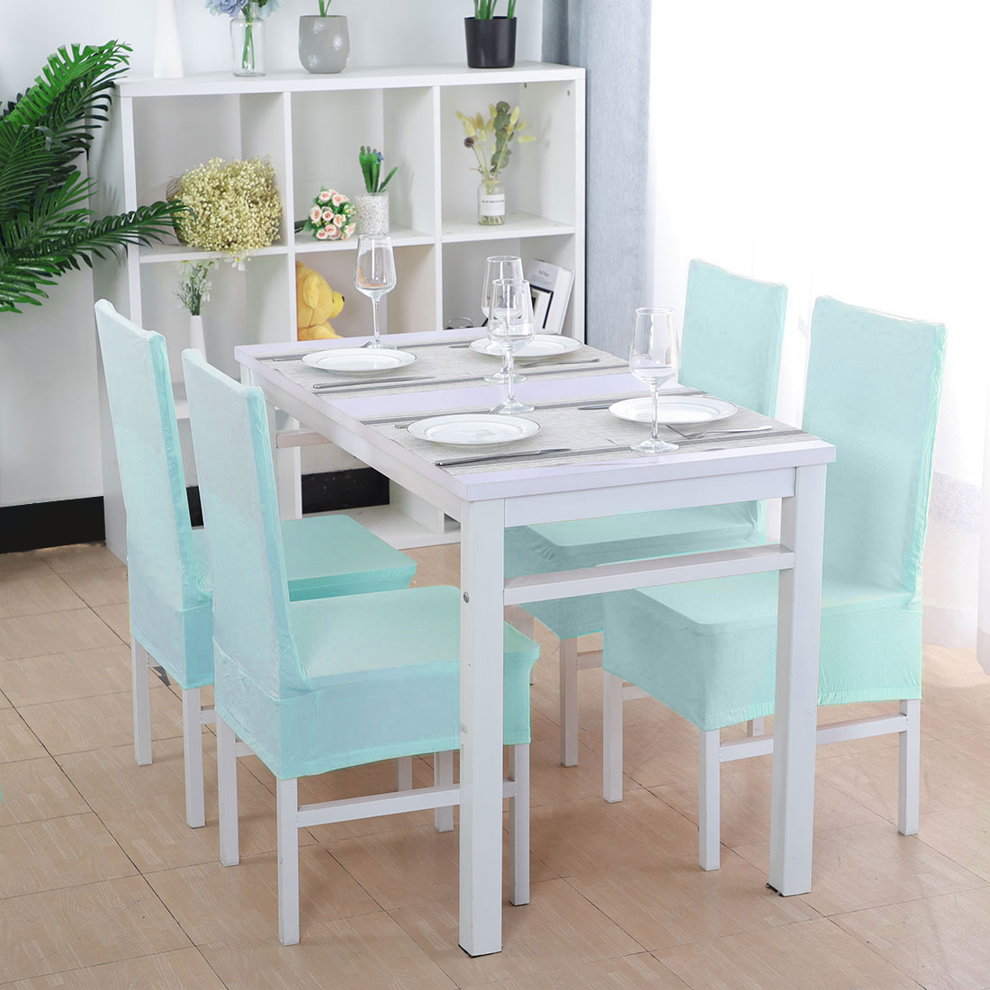Kitchen Dining Chair Cover Restaurant Wedding Part Decor Sky Blue Set of 4