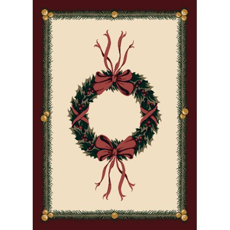 - Milliken Seasonal Inspirations Area Rugs - Novelty 00550 Sugarplum Christmas Wreath Bows Bells Rug