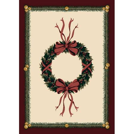 Milliken Seasonal Inspirations Area Rugs - Novelty 00550 Sugarplum Christmas Wreath Bows Bells Rug