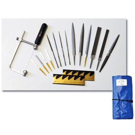 Grobet 17-Piece Jewelry Making Tool Kit, Set of Professional Files, Gravers, and Saw with Blades and Storage Pouch for Bench Jewelers, Students, and - Student Tool Kit