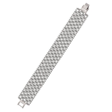(14K Gold, Rose Gold, or Rhodium Plated 22mm Argyle Pattern Crystal Bracelet)
