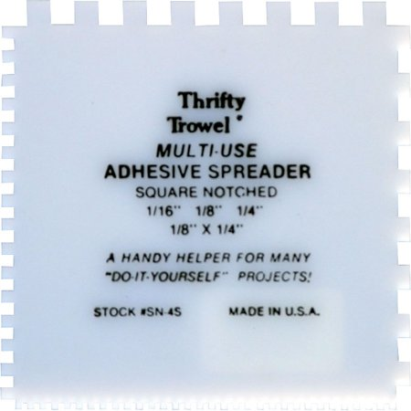 Grip Notched Trowel (Thrifty Trowel Square Notch Plastic Adhesive Spreader (box of 36) )