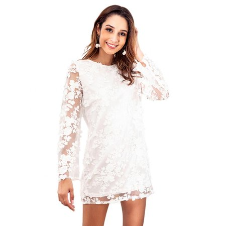 Lace Dresshurrise Fashionable Women Lady Long Sleeve Lace Loose Backless Short Style Dress For Party