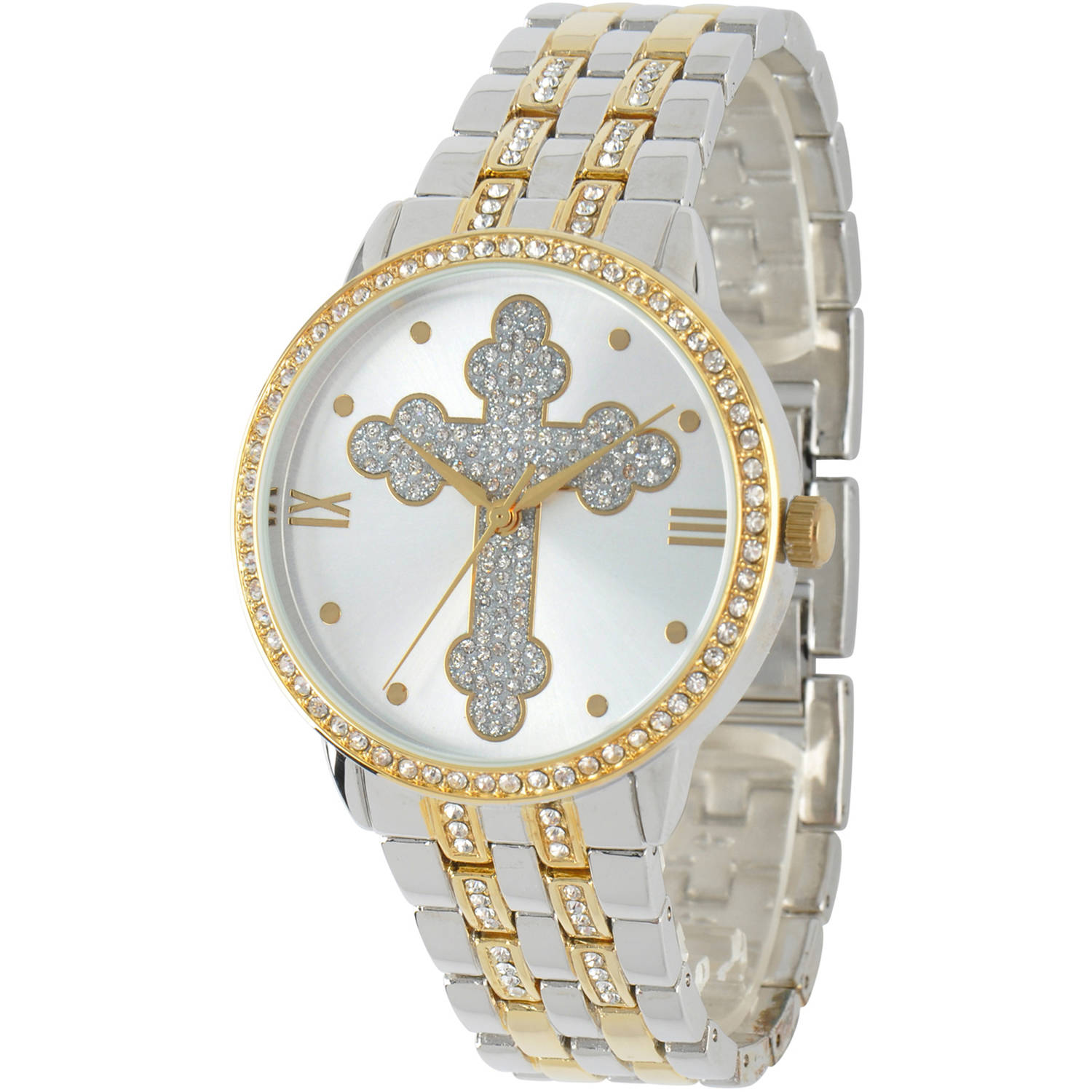 Cross Round Bracelet Watch, Two Tone by EWatchFactory