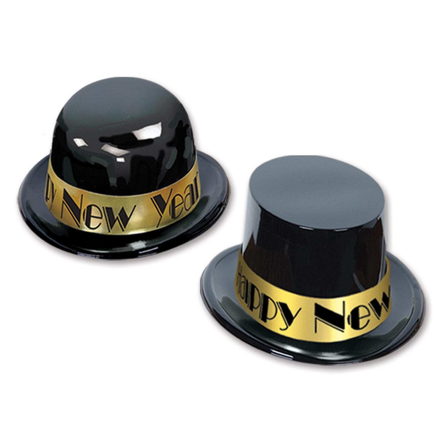 """Club Pack of 25 Festive """"Happy New Years"""" Showtime Gold Derby Party Favor Hats"""