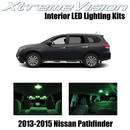 XtremeVision LED for Nissan Pathfinder 2013-2015 (9 Pieces) Green Premium Interior LED Kit Package + Installation Tool ()