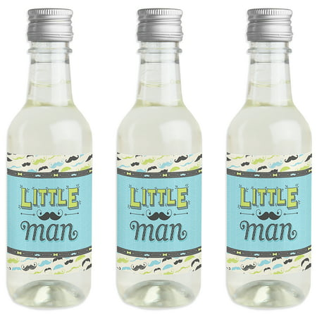 Little Man Party Supplies (Dashing Little Man - Mini Wine and Champagne Bottle Label Stickers - Baby Shower or Birthday Party Gift for Women)