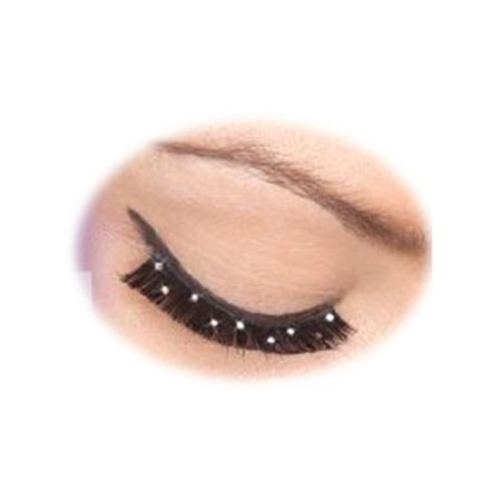 Women's  Black Sequin Studded Fake Costume Eyelashes (Fake Black Eye Halloween)