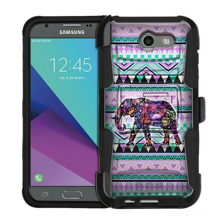 Hybrid Tea Collection - Samsung Galaxy J3 Luna Pro Armor Hybrid Case Elephant on Aztec Andes Tribal Tea 2 Piece Case with Holster for Samsung Galaxy J3 Luna Pro
