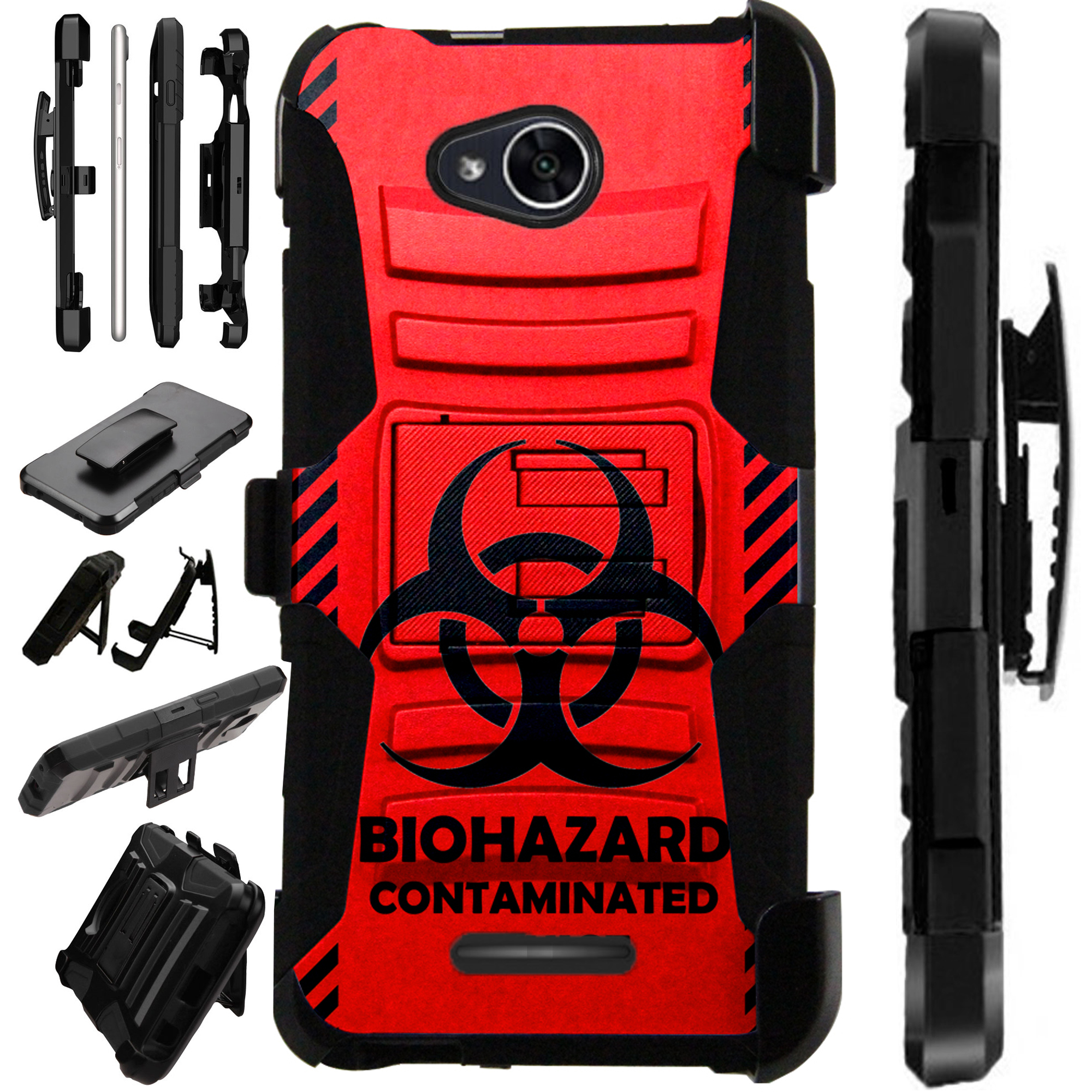 For Alcatel Tetra (2018) Case Armor Hybrid Silicone Cover Stand LuxGuard Holster (Red Biohazard)