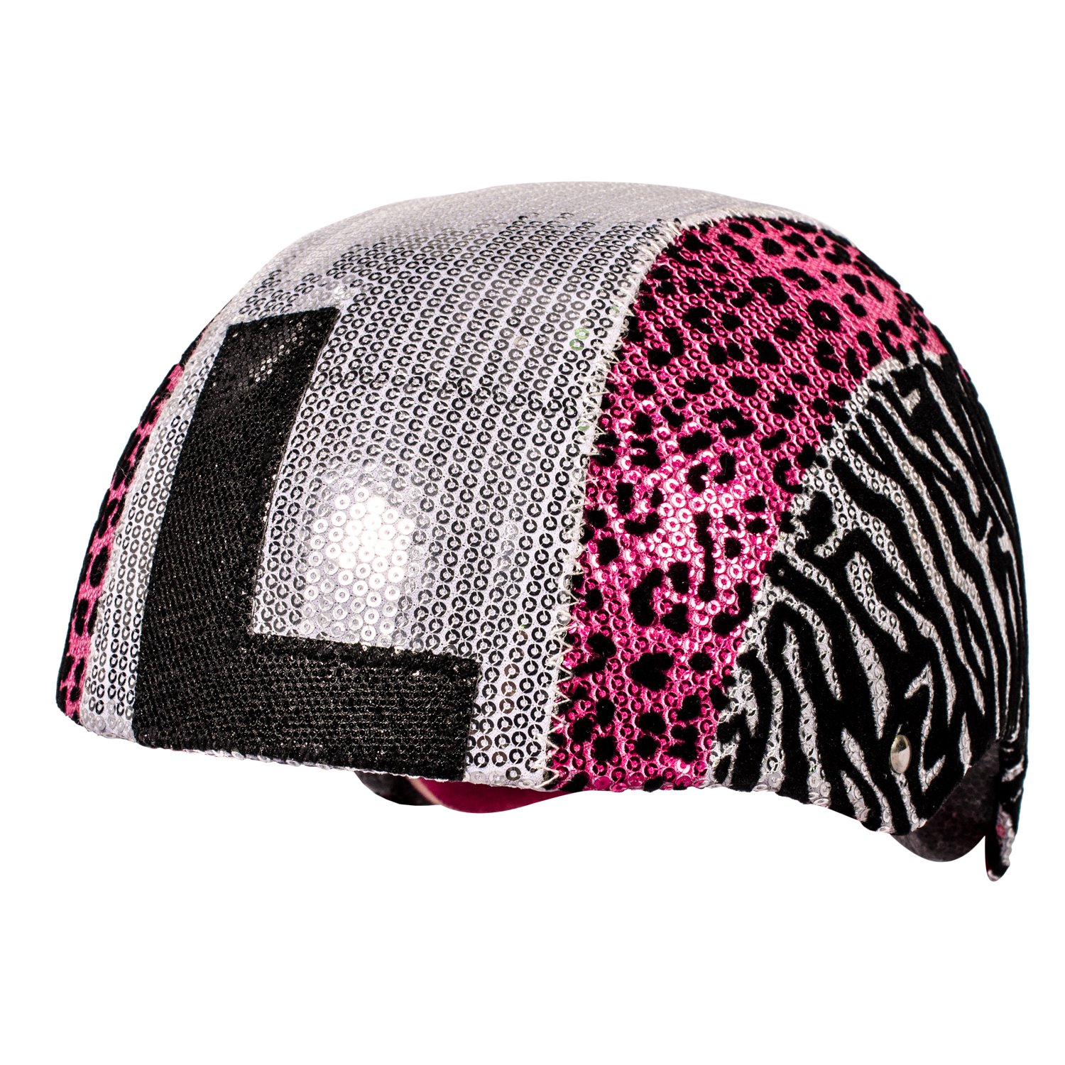 Raskullz Glam Gear Kids Bike Helmet Sequins Zebra Pink Leopard Print for Cycling, One Size