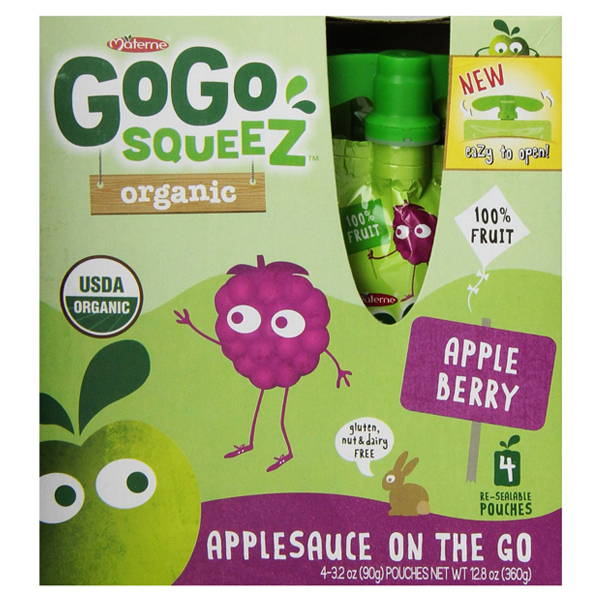 GoGo Squeez Organic Apple Berry Applesauce 3.2 oz Pouches...