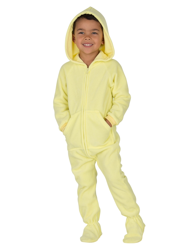 95010f0575 Footed Pajamas - Mellow Yellow Toddler Hoodie Onesie - Walmart.com