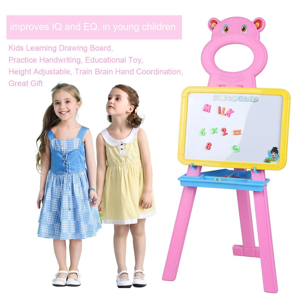 Pink Bear Children Kids Learning Drawing Practice Handwriting Board Height Adjustable Floor Stand Rack Bracket Educational Toy