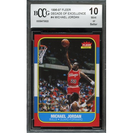 1996-97 fleer decade of excellence 1986-1996 #4 MICHAEL JORDAN BGS BCCG (Fleer 92 93 Michael Jordan Slam Dunk)