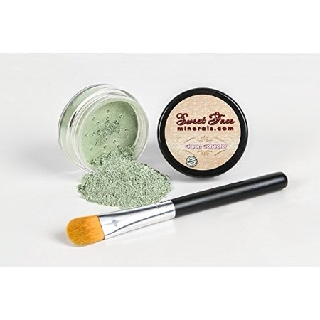 GREEN CORRECTOR w/ BRUSH Mineral Makeup Concealer Foundation Bare (Green Skin Cover)