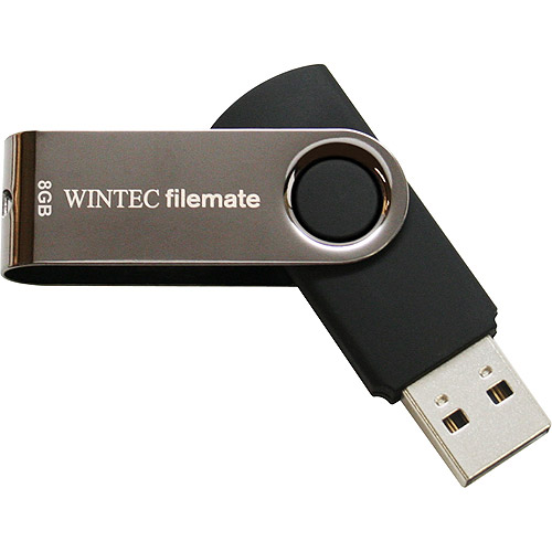 Wintec FileMate 8GB SWIVEL USB Flash Drive, Black