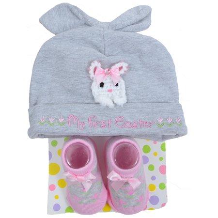 bd4cc6c2b My First Easter Baby Infant Cute Bunny Sock & Beanie Set for Girls - -  Walmart.com
