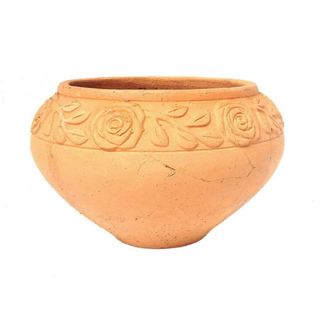 Large Terra Cotta Pot (Heavy Hand Pressed Ancient Stressed Terracotta Round Flower Pot or Planter 2 sizes available, Large size )