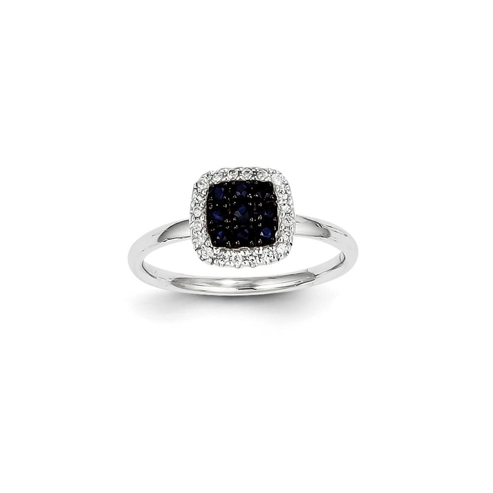 14K White Gold Diamond & Round Cluster Sapphire Square Gemstone Ring 0.43ct