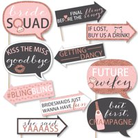 Funny Bride Squad - Rose Gold Bridal Shower or Bachelorette Party Photo Booth Props Kit - 10 Piece