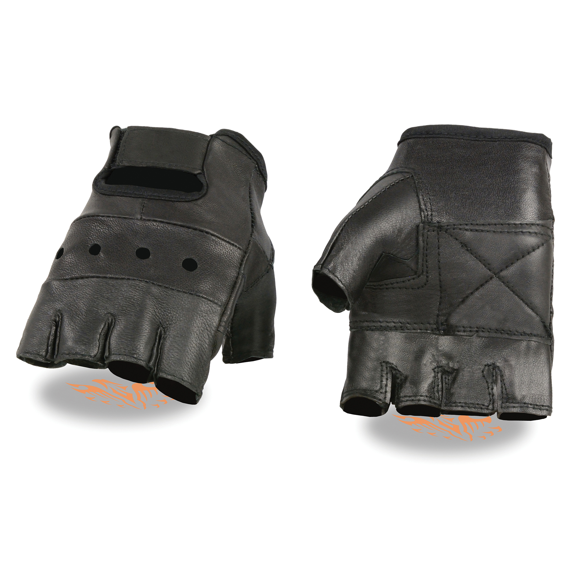 Men's Leather Fingerless Glove w/ Gel Palm