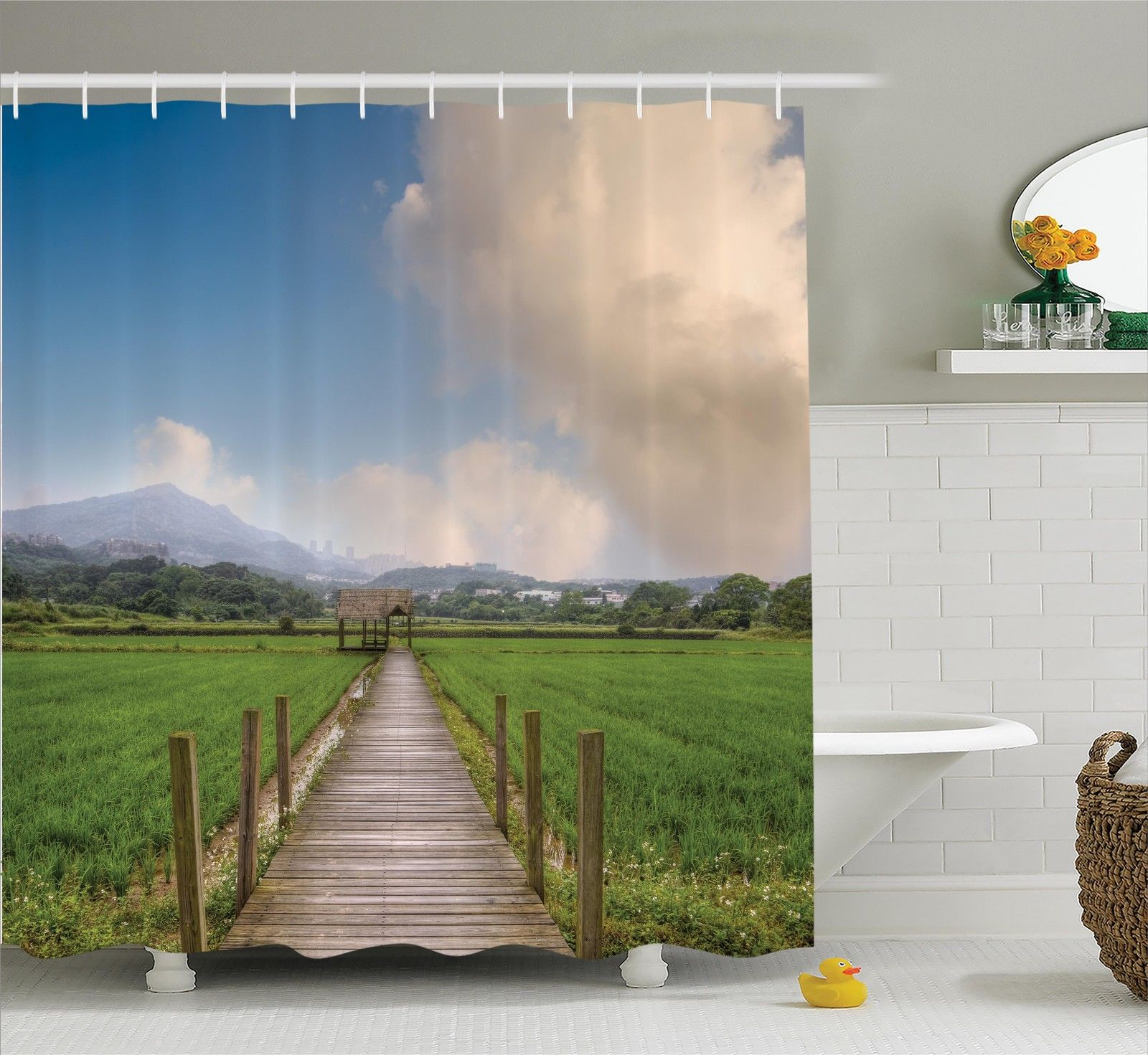 Farm House Decor Shower Curtain Set, Rural Scenery With Wooden Path And House Under Cloudy Sky Mountain Serenity In Nature, Bathroom Accessories, 69W X 70L Inches, By Ambesonne