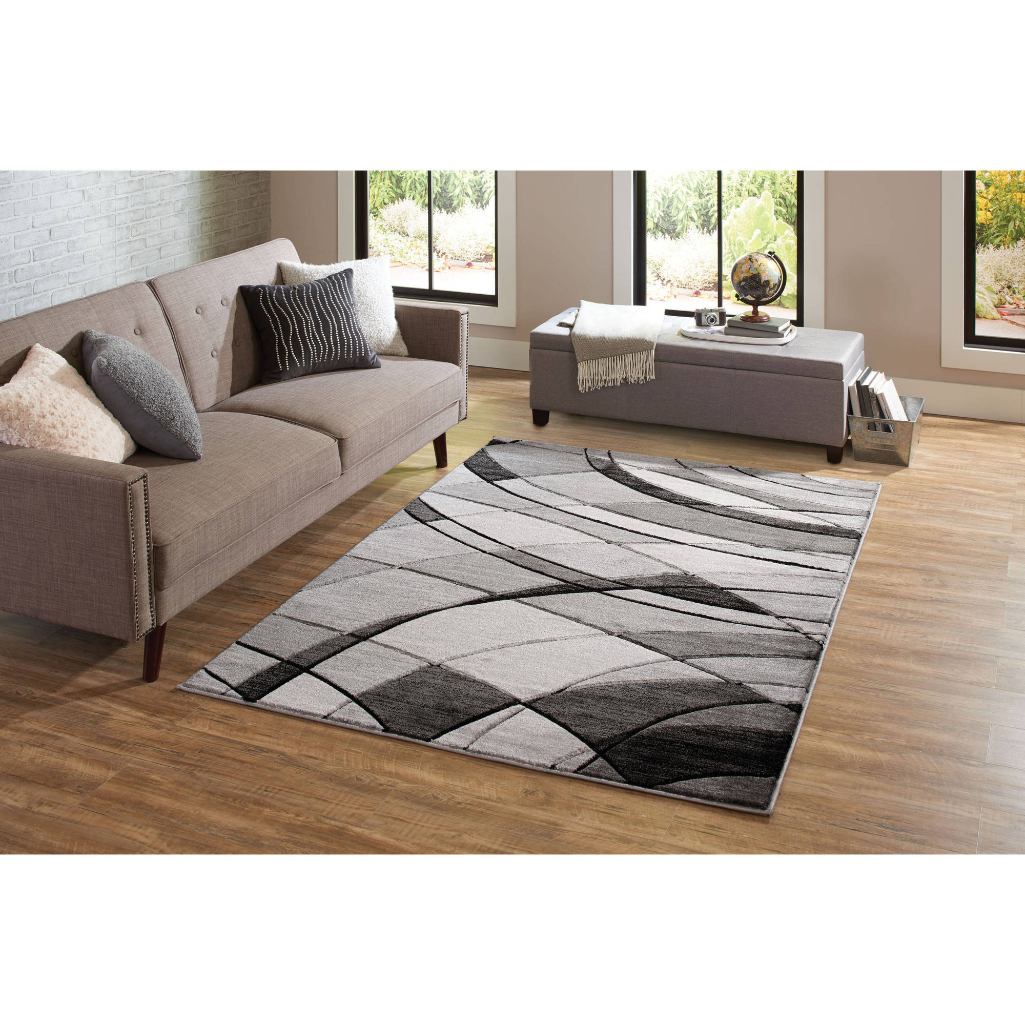 Better Homes Gardens Abstract Indoor Area Rug Gray 5 X7 Walmart Com Walmart Com