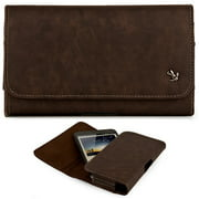 Huawei Raven LTE H892L ~ EXTRA LARGE Horizontal Leather Pouch Carrying Case Holster Belt Clip Magnetic Closure Fits - Brown