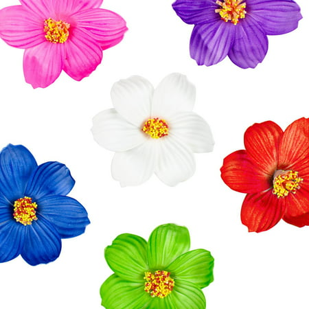 Hula Girl Paper Foam Hibiscus Color Flower Lei Hawaiian Island Rainforest Theme Hair Clips for Birthday Party Favors, Event Decoration Supplies (12 Pack) by Super Z Outlet (Island Themed Decorations)