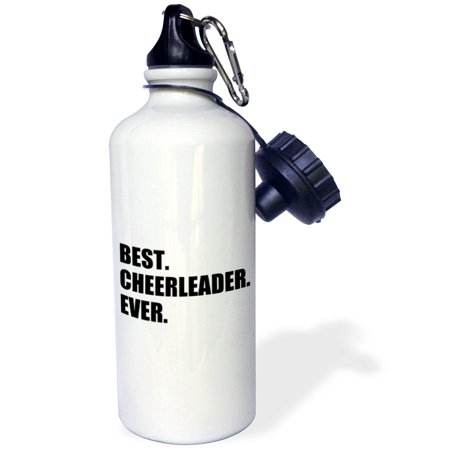 3dRose Best Cheerleader Ever - text - greatest head or team cheerleading girl, Sports Water Bottle, 21oz