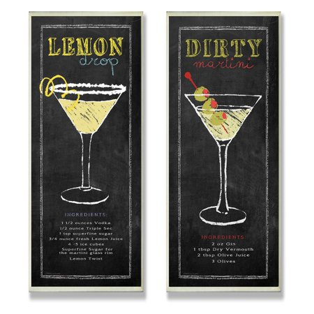 The Stupell Home Decor Collection Lemon Drop And Dirty Martini Chalkboard Wall Plaque - Set of