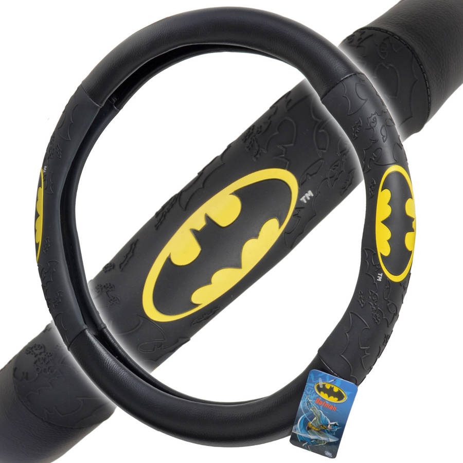 """Batman Steering Wheel Cover for Car, Comfort Grip Character Accessories, Standard Size 14.5""""-15.5"""""""