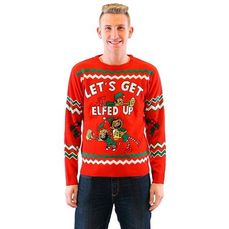 Let's Get Elfed Up Drunken Elves Red Ugly Christmas Sweater](Red Ugly Christmas Sweater)