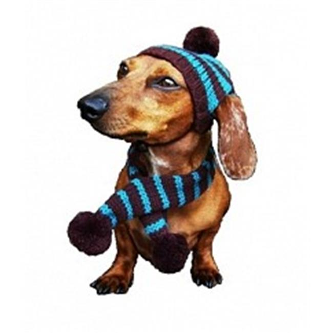 Dallas Dogs 2006-S Turquoise and Brown Striped Hat and Scarf, Small