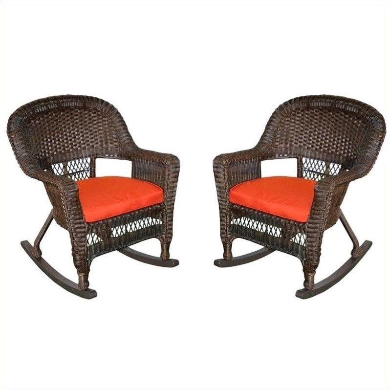 Jeco Wicker Chair in Espresso with Red Cushion (Set of 4)