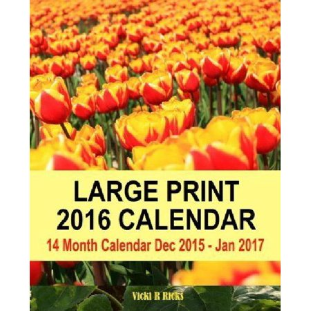 Large Print 2016 Calendar  14 Month Large Calendar Dec 2015   Jan 2017  Colorful Cover  Bold Print And Numbers  Easy To See Dates On Calendar