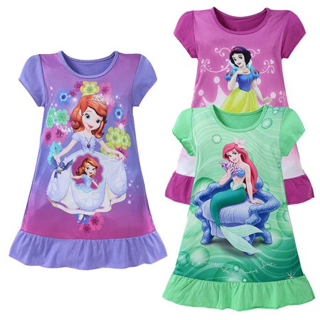 3-10Y Cartoon Baby Girls Mermaid Short Sleeve Princess Dress Kids Summer Party Dress