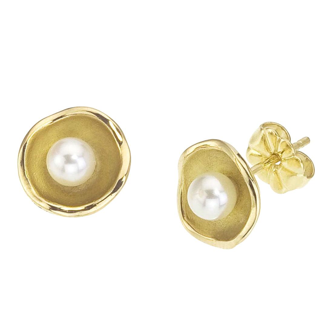18K Yellow Gold Pearl Stud Earrings