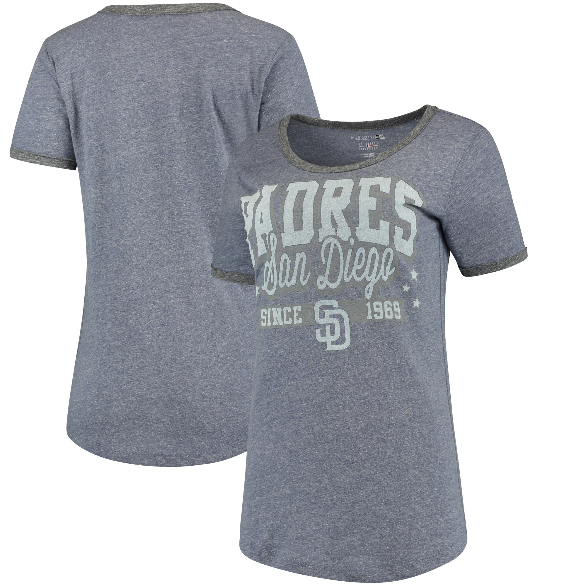 San Diego Padres 5th & Ocean by New Era Women's Jersey Ringer Tri-Blend T-Shirt - Navy/Charcoal