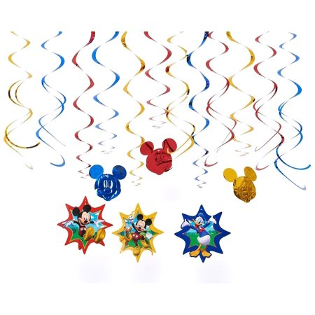 Diseny Mickey Mouse and Friends Party Foil Hanging Swirl Decorations / Spiral Ornaments (12 PCS)- Party Supply, Party Decorations By GoodyPlus (Mickey Mouse And Friends Birthday Party Supplies)