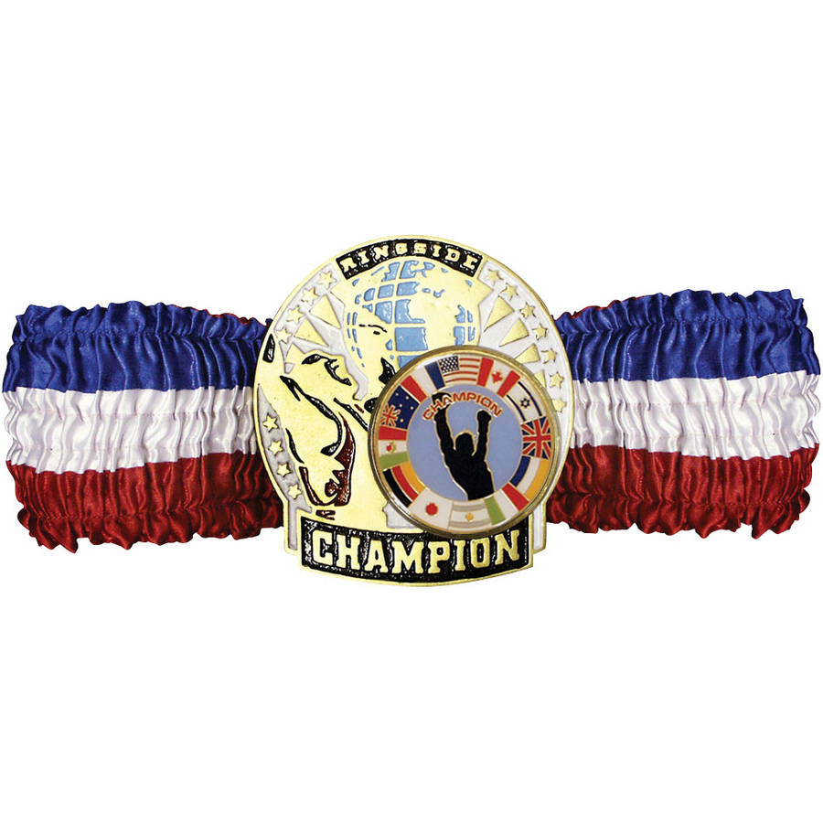 Ringside Champion Belt #4 Rd/Wh/Bl satin w/gold plate