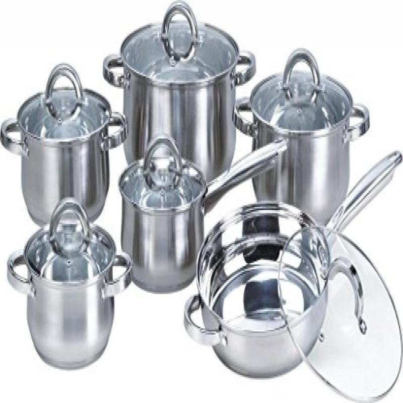 Heim Concepts Stainless Steel 12-Piece Cookware Set with Tempered glass lids - image 1 of 1